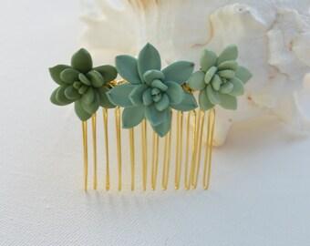 Trio Succulent Hair Comb. Bridesmaid Hair Comb. Succulent Wedding Hair Comb.