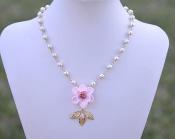 Pink Magnolia and Brass Leaf Centered Necklace. Magnolia Flower Centered Necklace. KATE