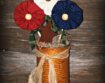 Primitive Flower Arrangement~Americana Decor~Fabric Flowers~Yo Yo Flowers~Primitive Home Decor~Primitive Tablesitter