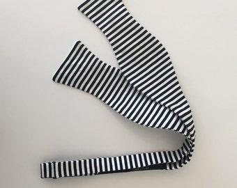 Men and Teen's Black Skinny Stripe Bow Tie