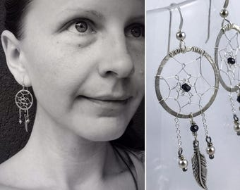 Sterling Silver Dreamcatcher Earrings- Hand Woven - Faceted Black Tourmaline and Sterling Feather and Bead Accents