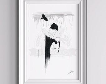 The Night's Watch - Jon Snow Poster ||| Direwolf Stark GoT Winter is Coming Minimalist Ghost Kit Harrington The Wall Winterfell