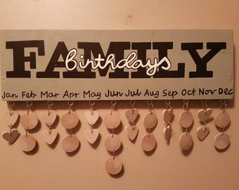 Family Birthday Calendar / wooden Birthday Board / Reminder board / handpainted sign  Celebrations Anniversarys  Family sign Gift