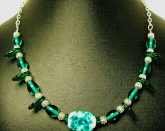 Teal, Lime and Mint American Artist Made Lampwork Focal Beaded Necklace on Silver Plated Chain - Item 269