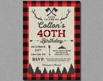40th birthday invitation for men buffalo plaid Jacob AP01 Digital or Printed