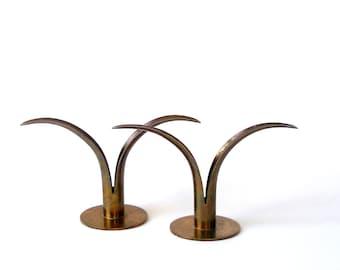 Vintage 2 YSTAD Konst LILY CANDLEHOLDERS Pair 1939 Ivar Alenius Bjork Design Danish Modern Sweden Candle Stick Ex Cond  Unpolished Patina