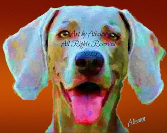 Affordable Custom Dog Portraits - You send me your Photos - I create the portrait Weimaraner. - I love dogs!