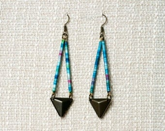 Blue Triangle Earrings, Ethnic Inspired
