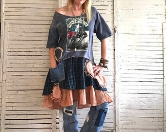 Fort Worth TX Prairie Chic Top L/XL, Upcycled Clothing for Women, Junk Gypsy, Hippie Boho, Wearable Art