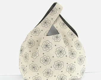 Japanese Knot handbag, Linen knitting project bag, Wrist bag, Shawl knitting tote, Knitters gift