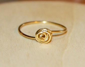 Delicate Rose Thin Ring, Rose Ring, Gold Ring, Rose Wire Wrapped Ring, Minimalist Jewelry. Under 15.
