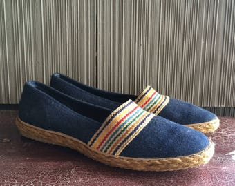 Size 8 Grasshopper denim and jute slip on womens shoes with rainbow trim