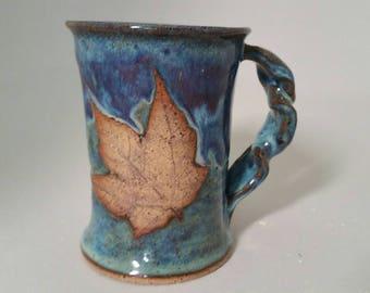 Blue Fall Leaf Stoneware Mug Pottery Ceramic Coffee Cup