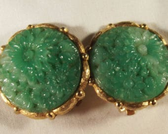 Earrings Vintage Green Floral Molded Glass Gold Plated Brass Big Bold Statement Three Dimensional Exotic Rare Excellent Condition