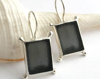 Dark Grey Sea Glass Earrings with Silver Accent Balls by JL925 Jessica Lee Designs