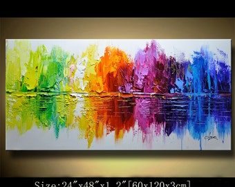 contemporary wall art,, Modern Textured Painting,Impasto  Landscape  Textured Modern Palette Knife Painting,Painting on Canvas by Chen 0103