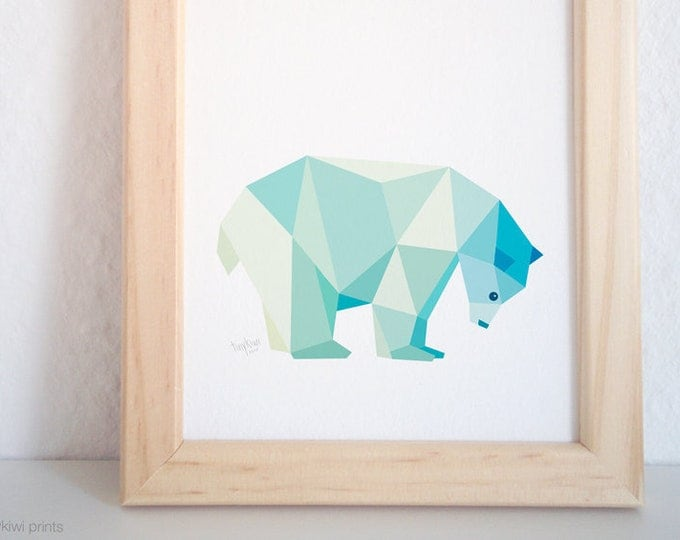 Polar bear art, Artic animals, Geometric polar bear, Bear art, Sea blues wall art, Nursery animal art, Baby nursery art, Ice bear, tinykiwi,