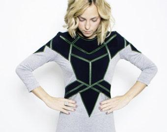 Crystal dress / Uv thread / Mini dress / futuristic design /
