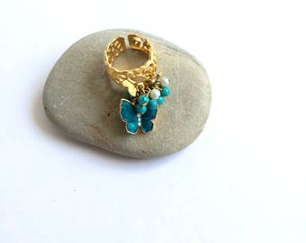Gold colour butterfly beaded ring, Spring ring, Summer ring, Mothers day gift, Valentines gift