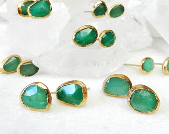 chrysoprase earrings, chrysoprase studs, gold filled, gold earrings, gold studs, mint green, rose cut, fancy cut, faceted studs