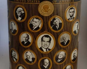 Vintage Metal U.S. Presidents Wastebasket, 1960s, Up to Richard M. Nixon, Weibro / J.L. Clark, 13 Inches Tall, for Historian's Office, Study