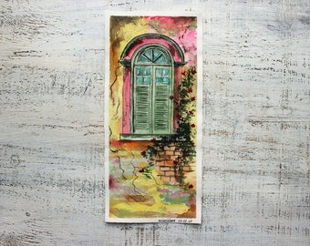 Window in Provence original watercolor optimistic painting 5x11