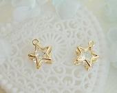 6pcs Copper CZ Diamond Pendant Small Pendant Earrings