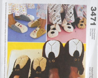 Pattern McCalls Craft Number 3471 Adults and Children Slippers Sewing Pattern Bear Dog Cat Craft Patterns Destash Commercial Supply