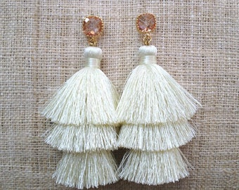 Champagne Layered Tassel Earrings 24K Gold Plated Transparent Pink Square Cut Faceted Gemstone, Cream Tassle Earrings Wedding Summer
