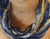 Sports Scarf, Team Colors Toledo Rockets -Multi Textural Fiber Art Fringe Scarf Blue and Yellow