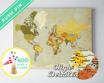 Canvas Push Pin World Map Vintage Colors - Ready to Hang - High Detailed - 240 Pins + 198 World Flag Sticker Pack Included - Gift for travel