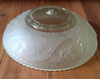 Antique Glass Ceiling Shade, Frost White, Ceiling Dome Shade, Raised Floral Design, Ceiling Light, Home Decor, Ceiling Shade, Lighting