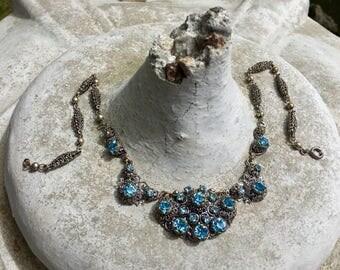 Vintage Bridal Blue Necklace 1930 1940  Rhinestone West Germany Filigree Choker