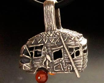Camper pendant, Fishing Camper necklace, Large Camp Trailer, recycled Sterling Silver made in USA