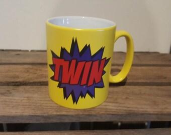 TWIN COMIC BOOK Style Yellow Satin Mug