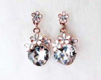 Rose Gold Earrings, Enamel Flower Earrings, Rhinestone Drop Earrings, Post Dangle Earrings, Romantic Wedding Jewelry, Modern Bridal Earrings