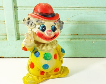 Vintage Plastic Clown Bank; Carnival Prize, Yellow & Red Clown