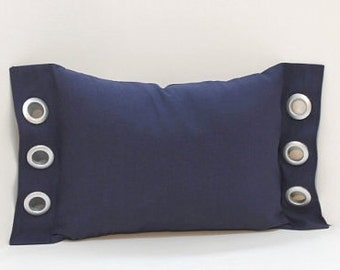 Grommet Accent Pillow Cover ~ Navy lumbar brushed silver grommet accents sofa pillow cover, navy blue home decor accent pillow