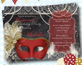 Masquerade Invitation, Mardi Gras Party, Masquerade Party, Masquerade Ball Invites, Mardi Gras Birthday, Mardi Gras Invitations, - C14
