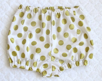 Baby Bloomers Shimmering Gold Dots Diaper Cover Cake Smash Panties Nappy Shorts Photo Shoot Infant Toddler Birthday Take home Photoprop