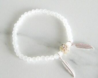 Rainbow Moonstone Bracelet, gemstone bracelet, june birthstone, summer bracelet, beach jewelry, gift for her, girlfriend gift, mothers day