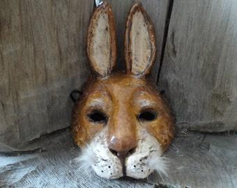 Halloween mask, Animal mask, Paper mache rabbit mask, Bunny mask , Hare mask, rabbit costume, bunny costume