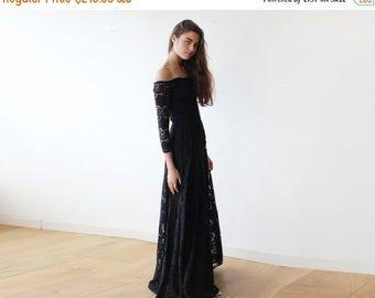 Spring Sale Off-The-Shoulder Black Floral Lace Long Sleeve Maxi Dress 1119