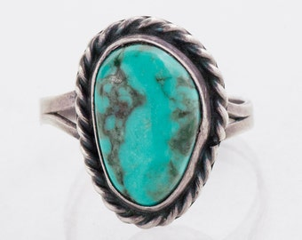 Vintage Turquoise Ring - Vintage Sterling Silver Turquoise Ring