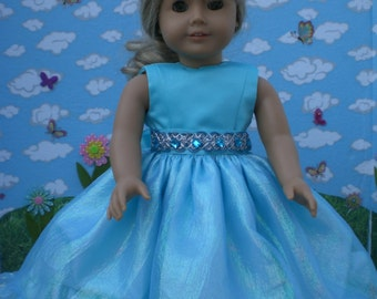 Frozen blue Princess dress for 18 inch doll like American Girl
