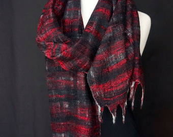 Felted Shawl. Brilliant. Red & Black. Merino Wool. Silk. Bamboo. Fringe. Eco. Sustainable. Luxury.