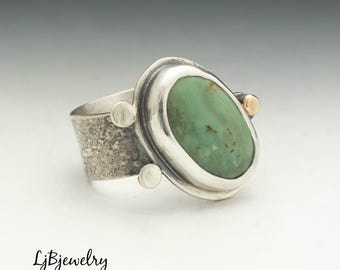 Turquoise Ring, Silver Ring, Statement Ring, Cocktail Ring, Metalsmith, Metalwork, Handmade, Sterling silver, Turquoise, 18k gold