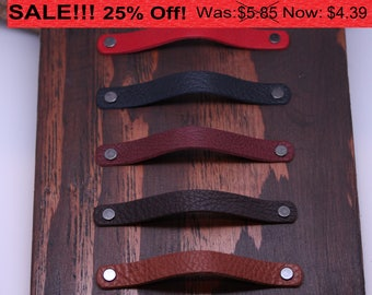 Handcrafted in USA: All leather drawer / cabinet pulls with Hardware!