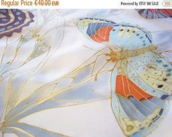 SALE Small silk scarf hand painted butterlies summer accessory wearable art - ready to ship
