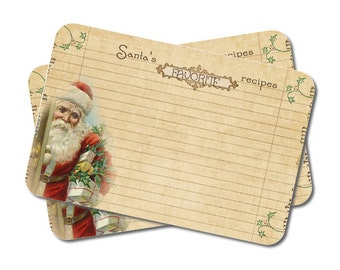Christmas Recipe Cards, Hostess Gift, Santa, Cookie Swap, Vintage Inspired, 4 x 6, Holiday Recipe Cards, Set of 12